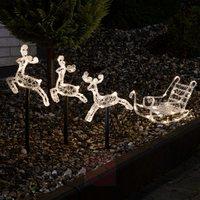 Reinsdyr med lys slede, rein julelys julebelysning ute